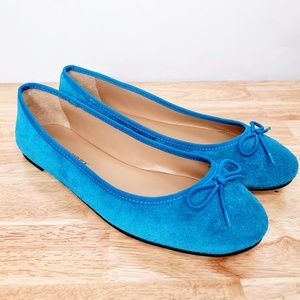 Banana Republic Blue Suede Flats with Lace Bows 7